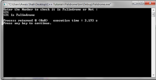 C++ program : How to check waether the Number is Palindrome or Not