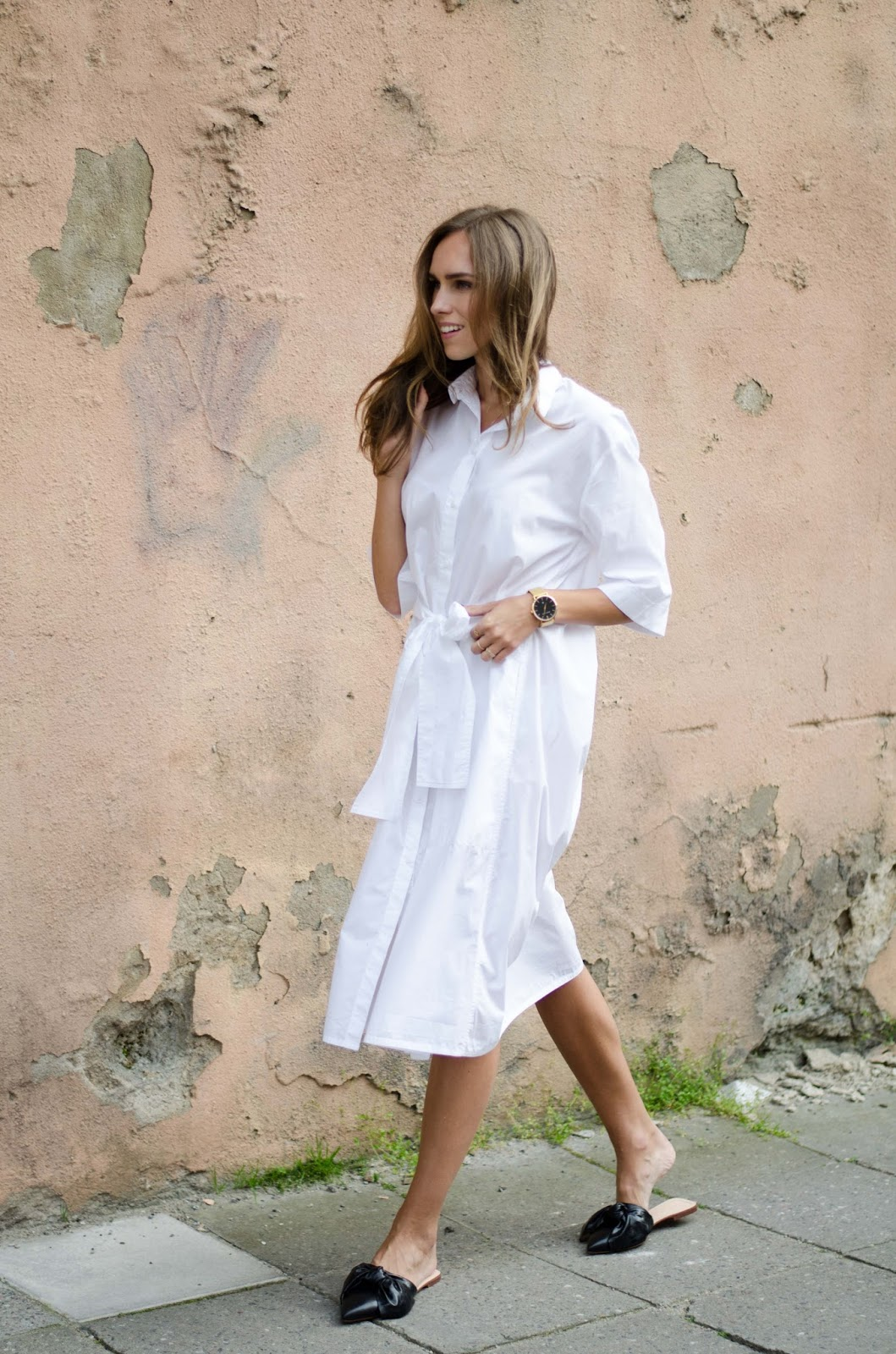 white shirt dress black flat mule loafers minimalist outfit