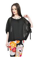 Bluza neagra cu maneca tip fluture D2545-N