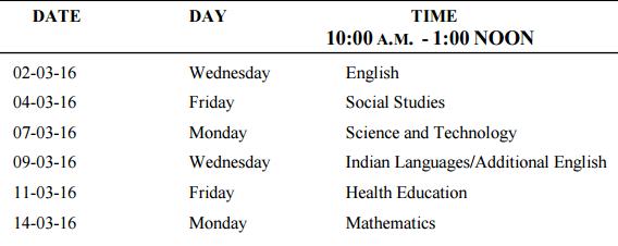 Meghalaya SSLC - 10th Date Sheet and Routine 2016