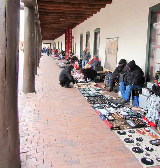 Native Americans selling authentic goods in Santa Fe, New Mexico