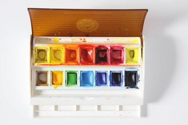 watercolor, watercolor paints, watercolor pans, pan watercolor paints, Sennelier Frech Artists Watercolor Half Pans, Anne Butera, My Giant Strawberry