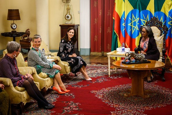 Crown Princess Mary wore a floral embroidered midi dress by Vilshenko. President of Ethiopia Sahle-Work Zewde
