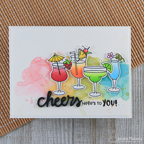 Cheers! Rainbow Cocktail Card by Juliana Michaels | Cocktail Mixer Stamp Set by Newton's Nook Designs #newtonsnook