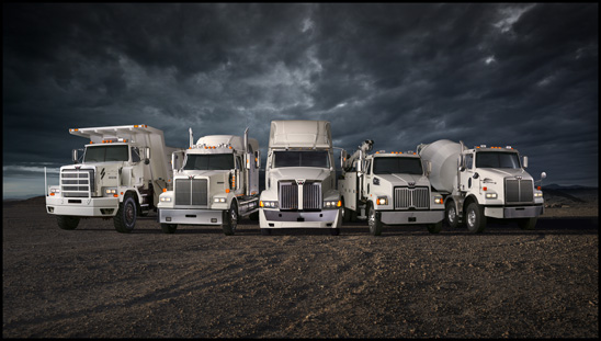 Western Star 6900XD, 4900SF, 5700XE, 4700SF and 4800TS models (from left to right)