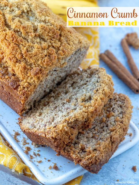 Cinnamon Crumb Banana Bread recipe will be your new go to recipe to use up those bananas sitting on the counter.