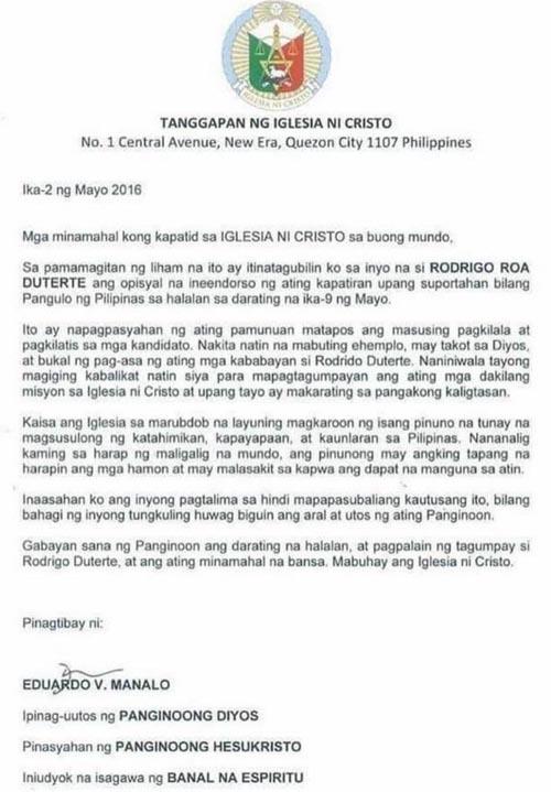 Iglesia ni Cristo Rodrigo Duterte endorsement fake document