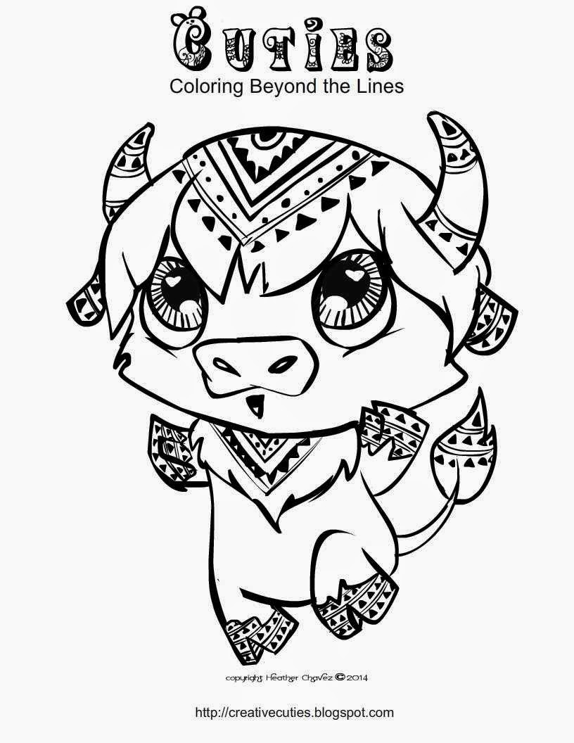 Creative cuties buffalo coloring page for Littlest pet shop coloring pages cuties