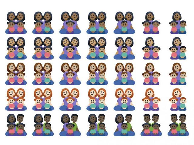 Facebook introduziu 125 novos emojis, projetado para representar uma ampla gama de tipos de família, tons de pele e cores de cabelo.