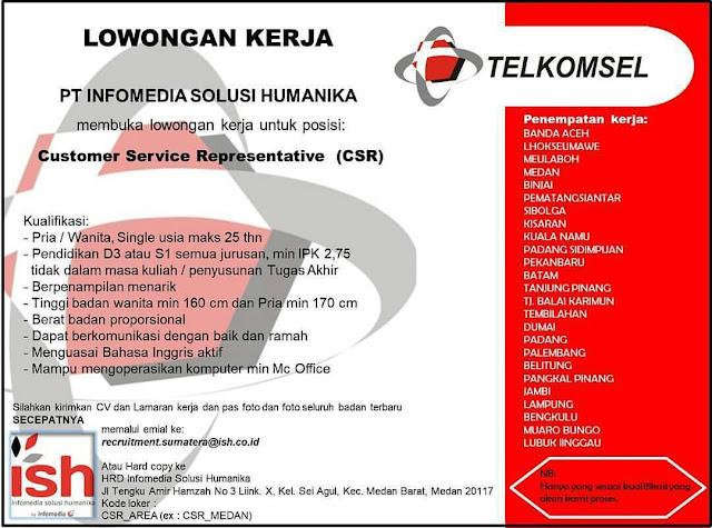 Rekrutmen karyawan telkomsel posisi customer service representative