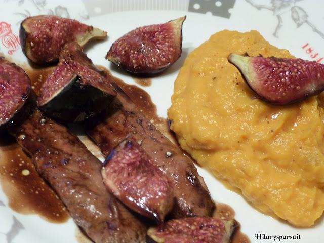 Aiguillettes de canard aux figues rôties et purée de patate douce