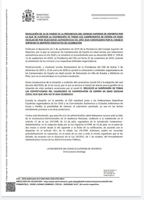 Resolución del CSD. Imagen: FEDA.