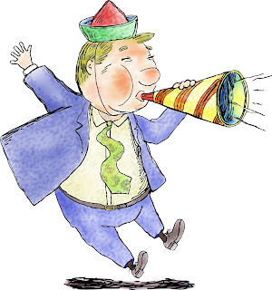 Clipart image of a man wearing a party hat blowing a noisemaker for New Year's Eve