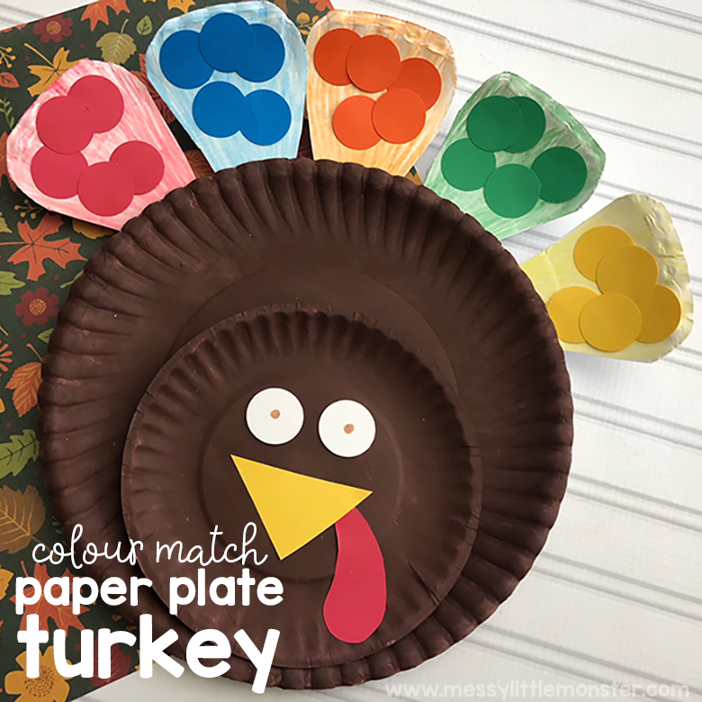 Colour Match Paper Plate Turkey Craft for Toddlers
