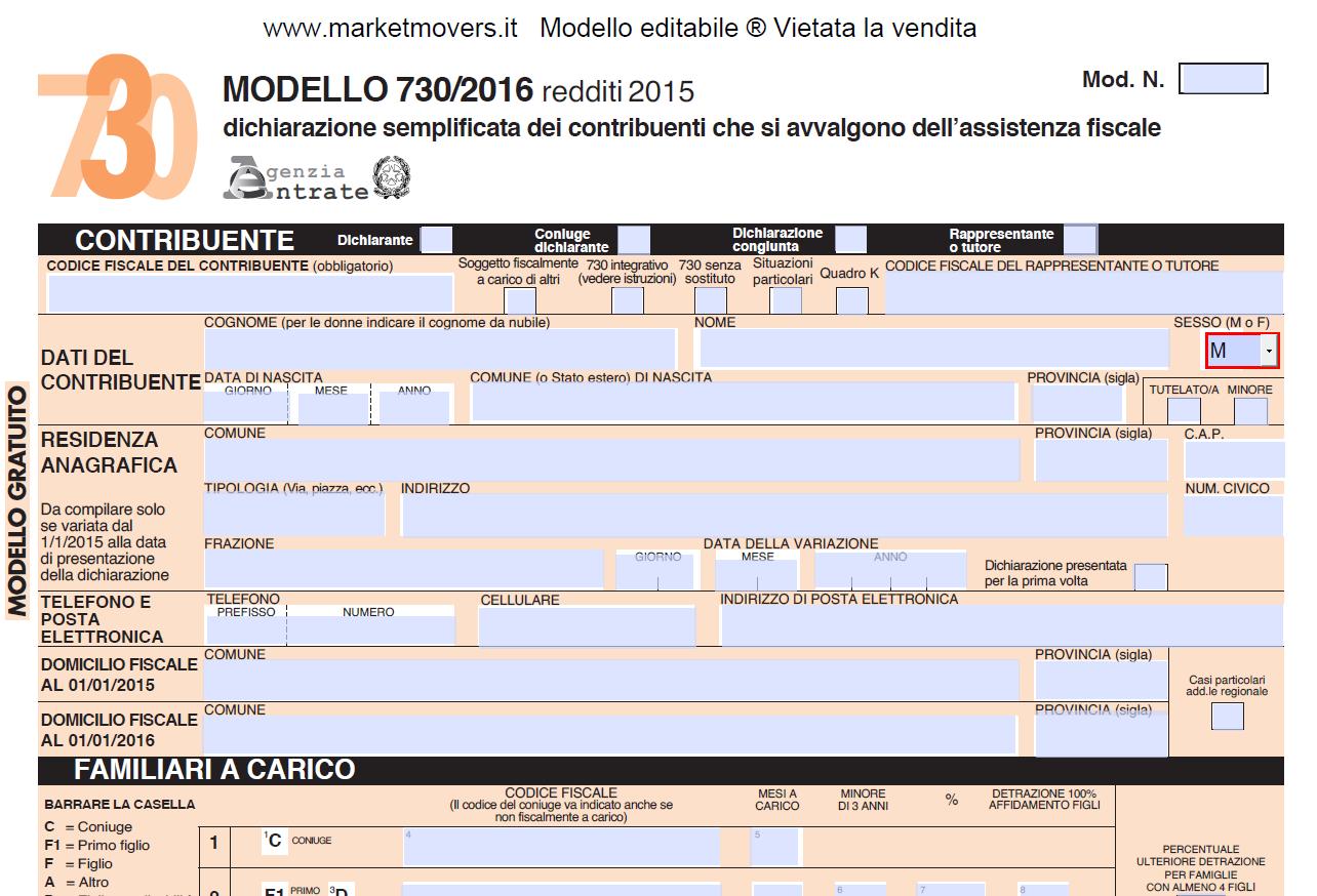 Modello 730 Del 2017 Editabile Compilabile Salvabile
