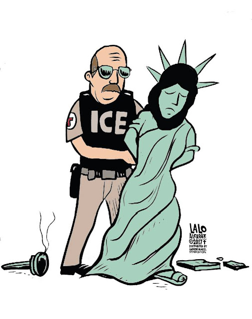 Lady Liberty, wearing a headscarf, being handcuffed by immigration official.