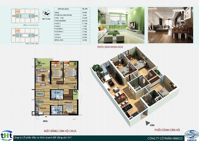 Mặt bằng căn 2A chung cư CT4 Vimeco