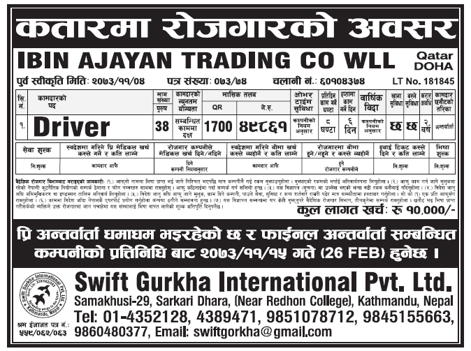 Jobs in Qatar for Nepali, Salary Rs 49,861