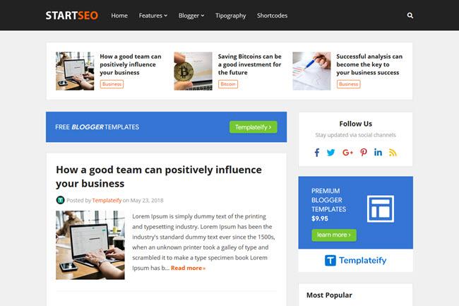 Template StartSeo | Modelo de Blogger responsivo