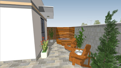 A suite do casal tem visão adornada por um ofurô, que pode ser também uma banheira externa de hidromassagem.