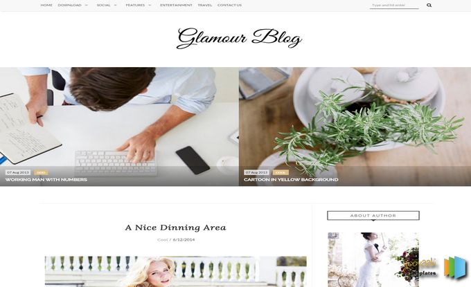 Glamour Theme Blogger Template Free