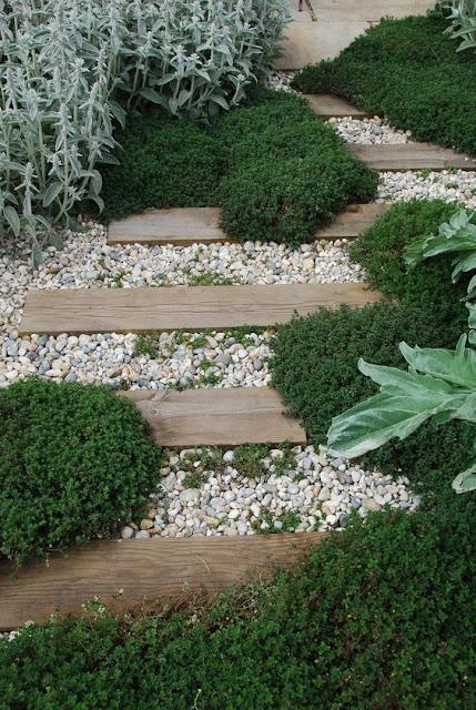 Design gradina moderna, simpla, amenajarea curtii, alei pietris