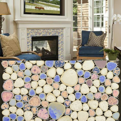 heart-shaped mosaic art collection mixed porcelain pebble tile sheets for fireplace