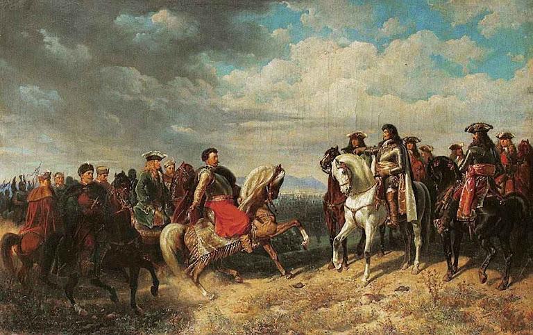 Encontro do rei polonês João Sobieski com o imperador Leopoldo I, perto de Schwchat, 1859. Lvivi Art Gallery, Ucrânia
