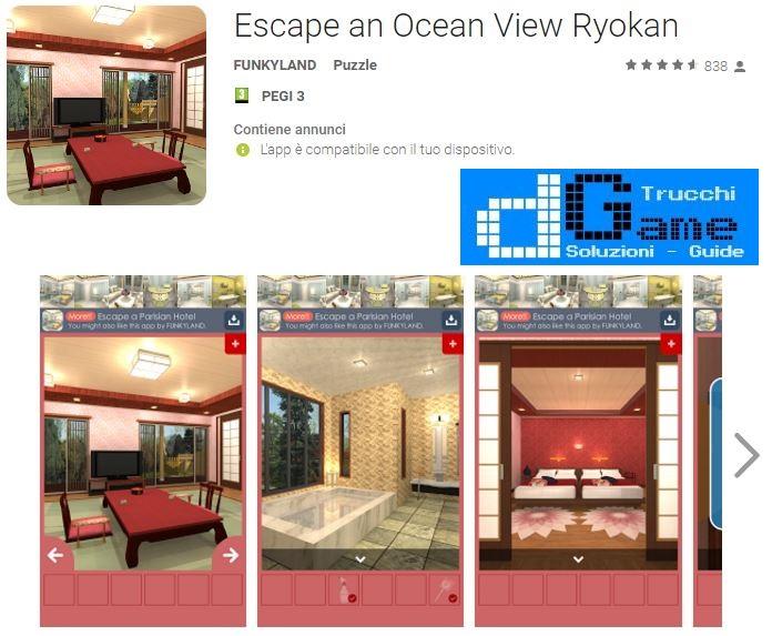 Soluzioni Escape an Ocean View Ryokan livello Unico   Trucchi e Walkthrough level