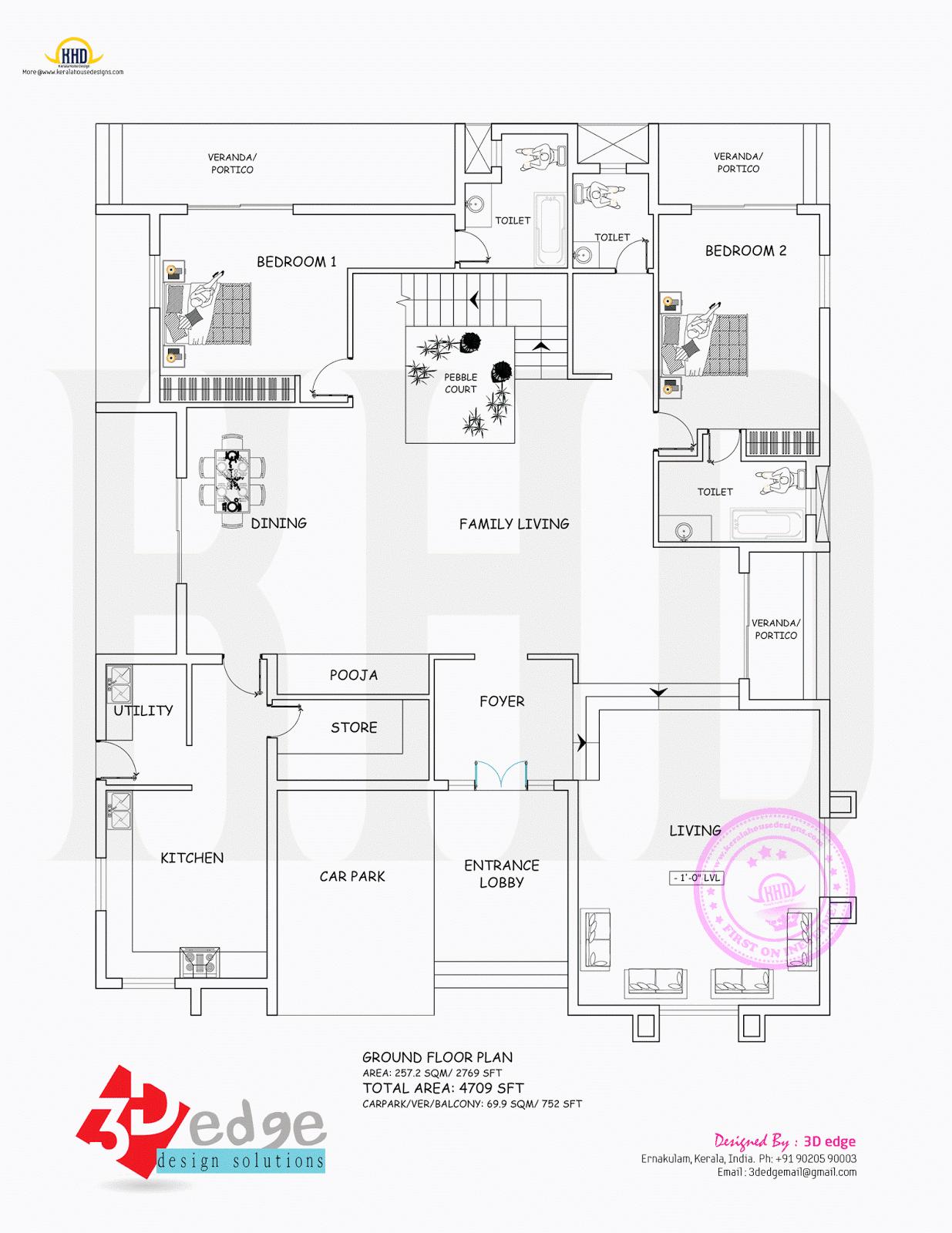 Ground Floor Elevation Plan : Modern house elevation and plan kerala home design