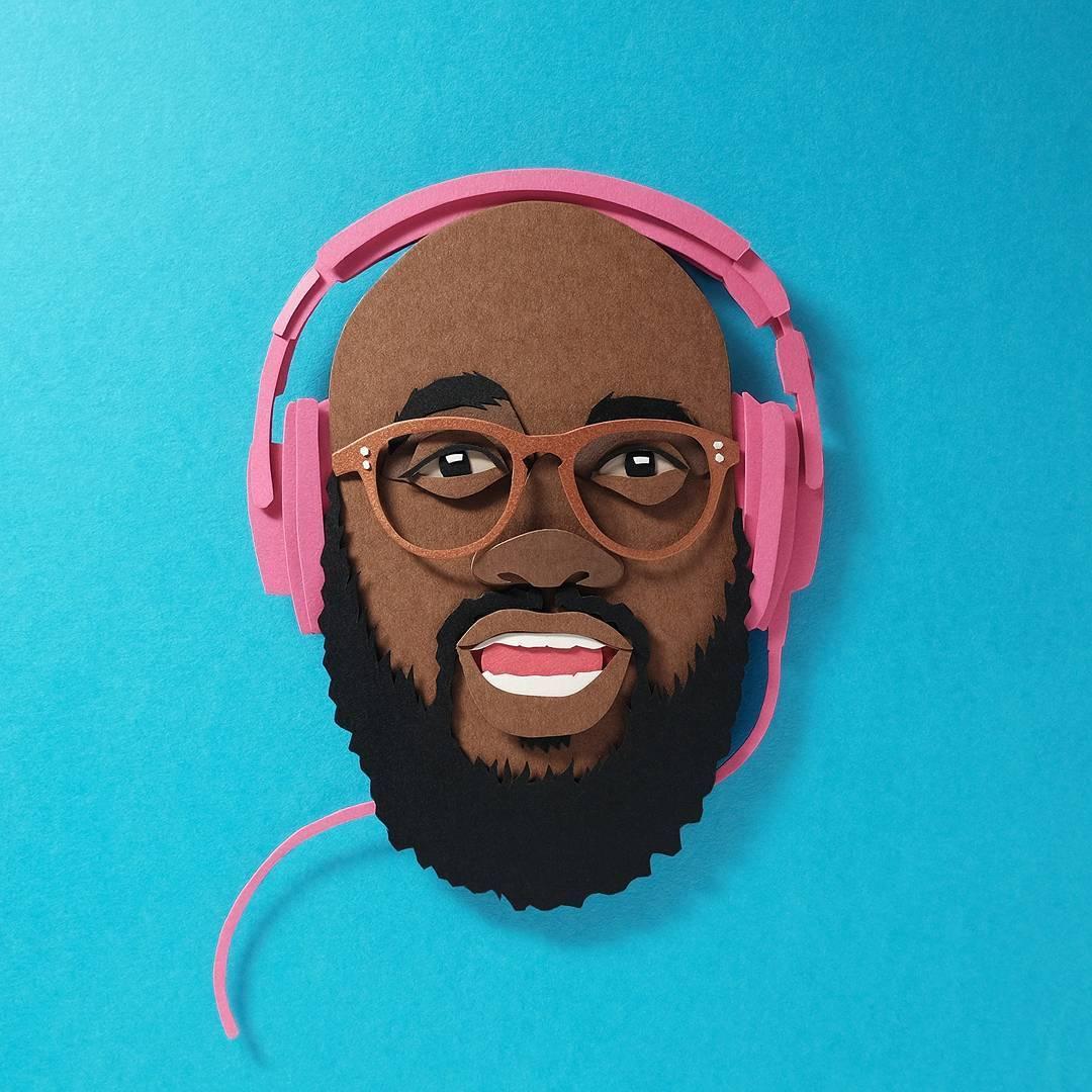 paper cut illustration man headphone