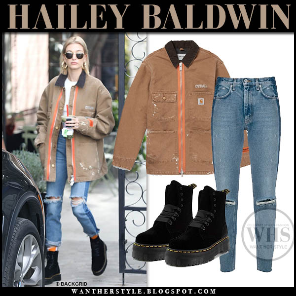 Hailey Baldwin in brown heron preston canvas jacket, ripped jeans and black velvet dr. martens jadon ankle boots model casual outfit january 22