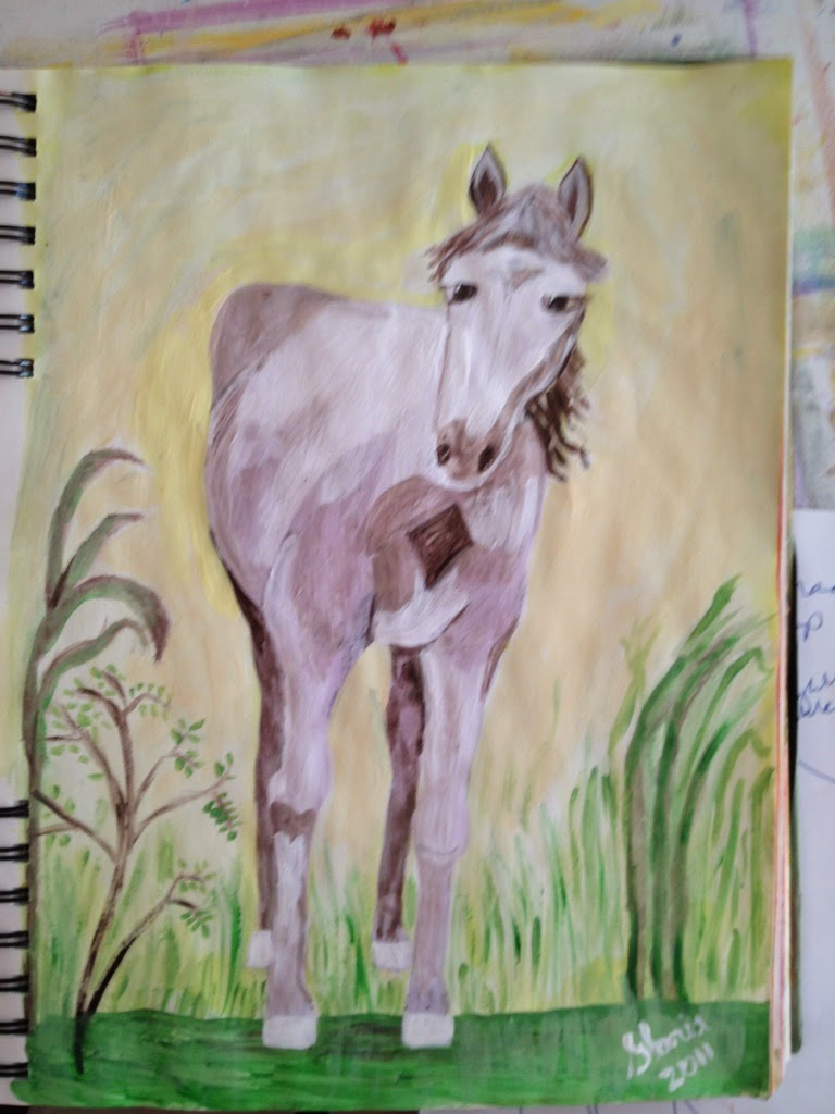 """White Paint Mare"" sketch by Gloria Poole of Missouri;"