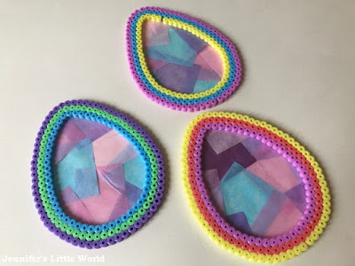 Hama bead Easter egg shaped sun catchers craft