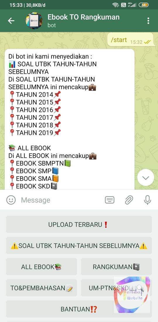 Bot telegram untuk cari ebook soal jurnal