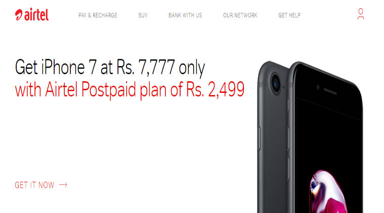 Buy Airtel Apple iPhone 7 Price available for Rs 7777 online