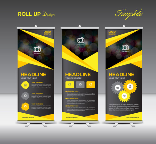 Yellow and black Roll Up Banner template vector