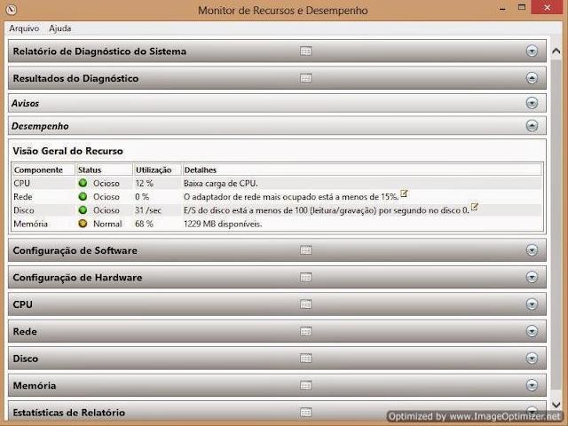 Monitor de Recursos e Desempenho do Windows