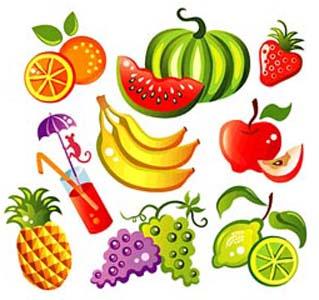 rimas frutas dibujos animados