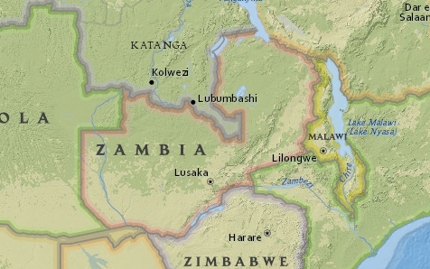 Map of Zambia from National Geographic MapMaker Interactive