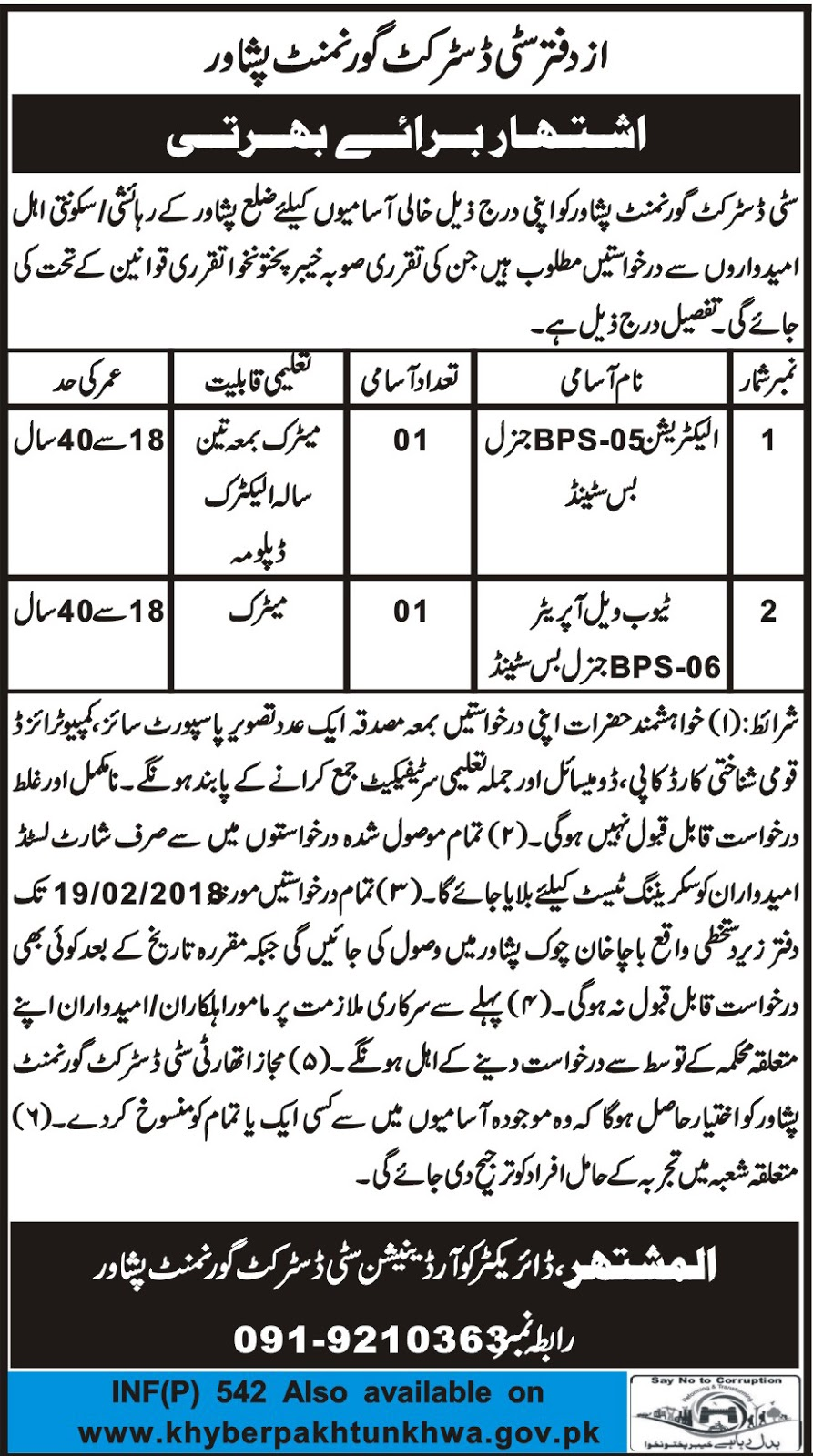 Electrician, Tube Well Operator Jobs In City District Govt Peshawar January 2018