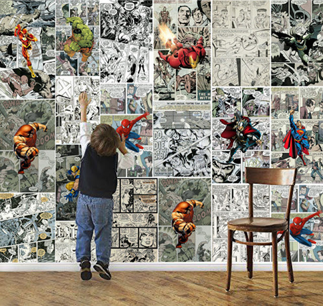 marvel wall murals Hero wallpaper mural childrens room comics trips Photo Wallpaper Kids Boys