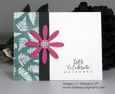 Simple card layout featuring Stampin'UP!'s Daisy Punch and Bitty Blooms Punch Pack