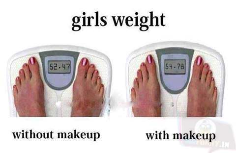 Remember, too much makeup can affect on your weight!