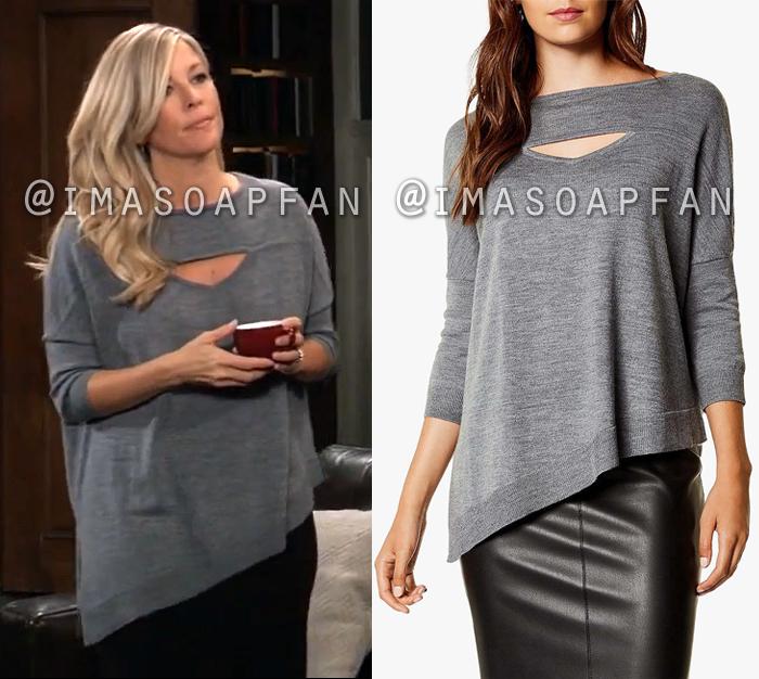 Carly Corinthos, Laura Wright, Asymmetric Grey Sweater with Keyhole Cutout, General Hospital, GH