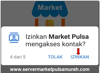 Izinkan Market Mobile Topup mengakses kontak