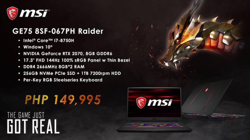 GEForce GE75 8SF-067PH Raider