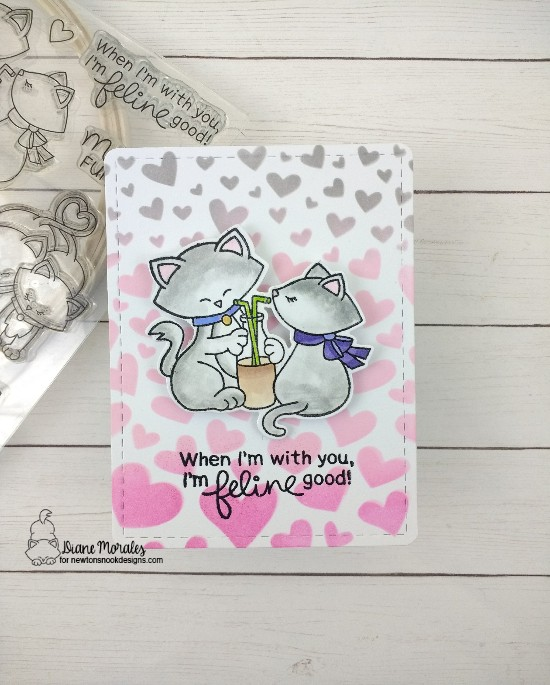 Feline Good by Diane features Newton's Sweeheart, Tumbling Hearts, and Frames & Flags by Newton's Nook Designs; #newtonsnook