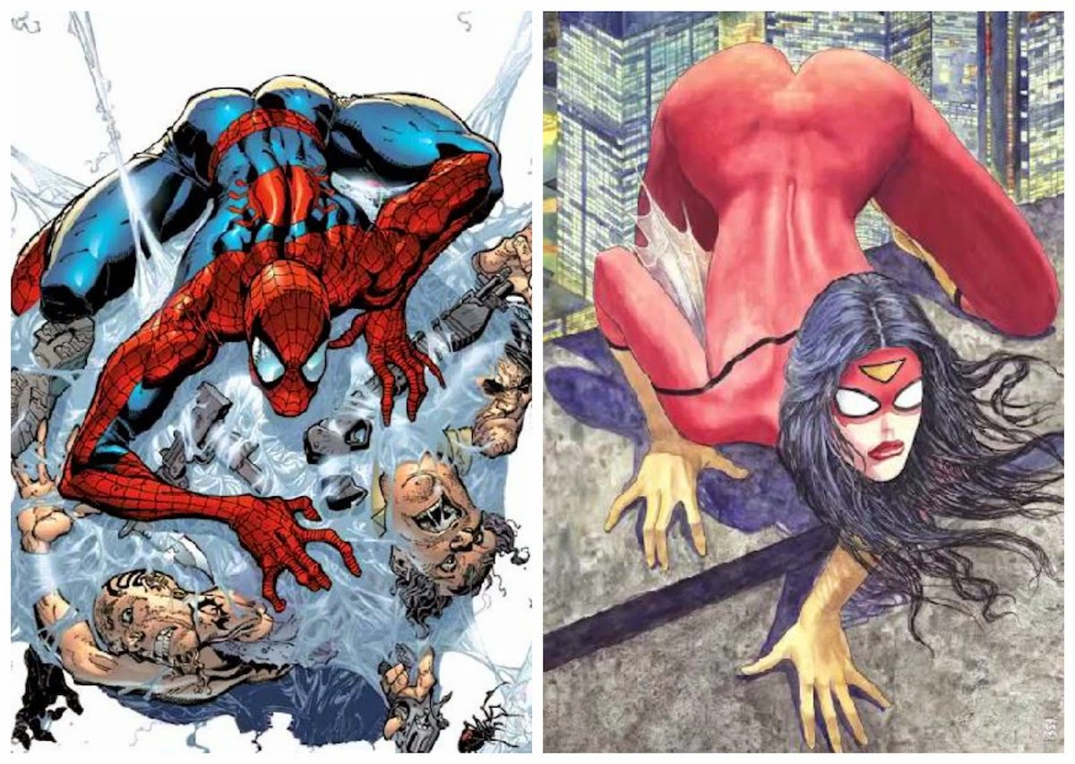 Spider-Man cover art compared to new Spider-Woman variant cover art from Marvel Comics.