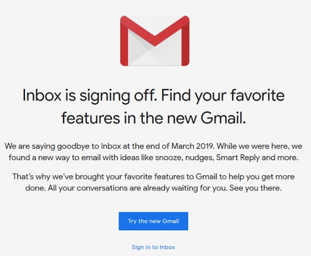 Google Inbox gets shutdown by End of March 2019